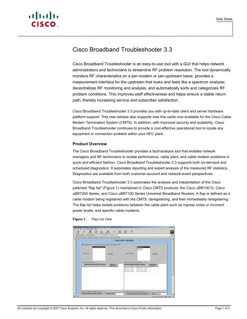Cisco Broadband Troubleshooter 3 3 - Mega Hertz