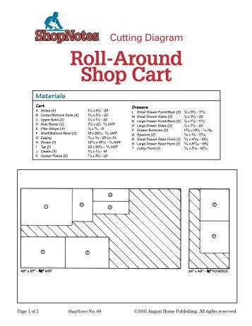 roll around tool cart cutting diagram shopnotes