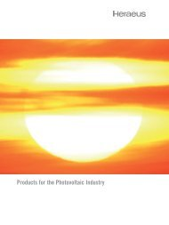 Products for the Photovoltaic Industry - Sputtering Targets by Heraeus