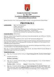 Protokoll der 33. Gemeinderatssitzung - Marktgemeinde Wildon