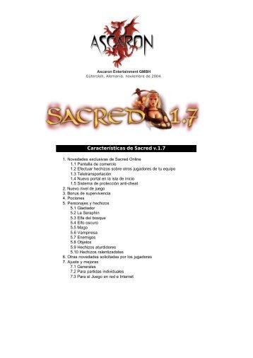 Características de Sacred v.1.7 - FX Interactive