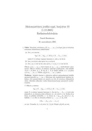 Aksiomaattinen joukko-oppi, harjoitus 10 (1.12.2005 ...