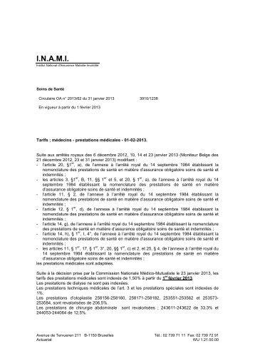 Tarifs des Médecins - A partir du 01/02/2013 - Inami