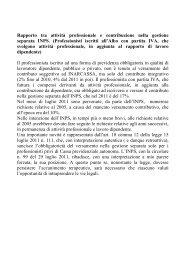 Rapporto tra attività professionale e contribuzione nella gestione ...