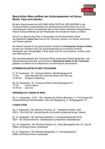 September Presseaussendung - Basis.Kultur.Wien