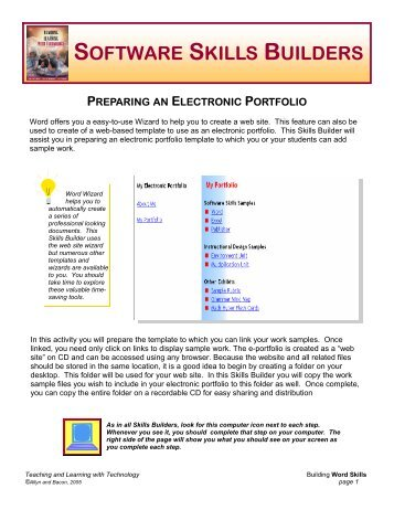 Creating an E-Portfolio with Word's Web Wizard
