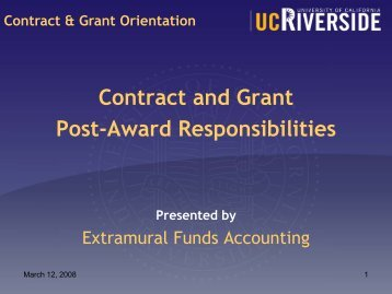 Contract & Grant Orientation - UCR
