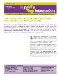 Le Point-Informations, vol. 2, n o 2, mars 2003, Les capacités ...