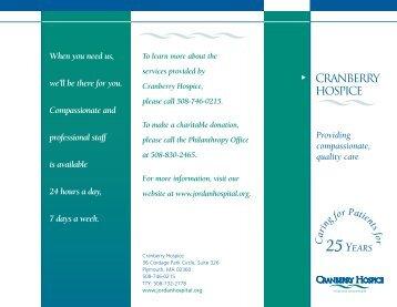 Cranberry Hospice brochure - Jordan Hospital