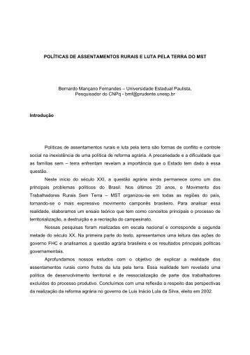 polticas de assentamentos rurais e luta pela terra do mst - UNESP