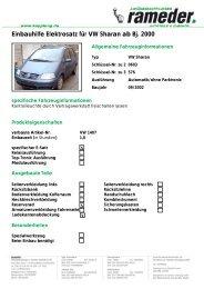 Einbauhilfe Elektrosatz für VW Sharan ab Bj. 2000
