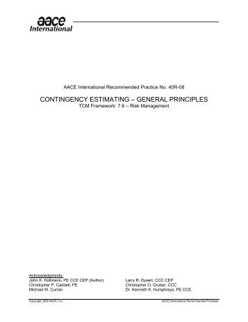 Contingency Estimating - General Principles - AACE International