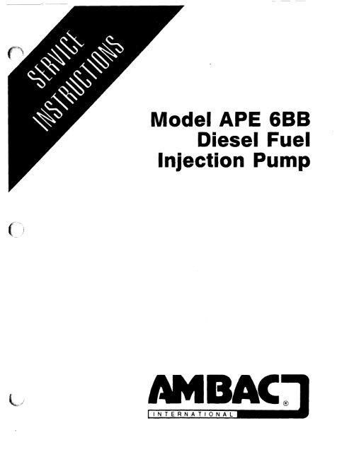 Model APE 6BB Diesel Fuel Injection Pump - AMBAC International