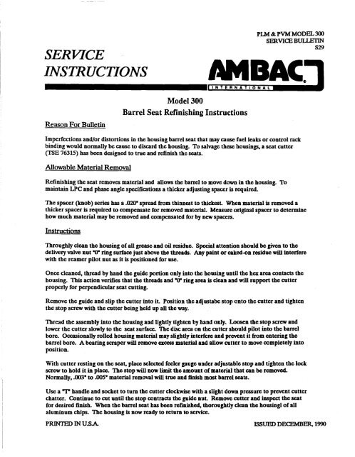 SERVICE INSTRUCTIONS Reas