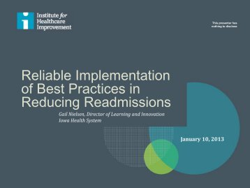 Reliable Implementation of Best Practices in Reducing Readmissions