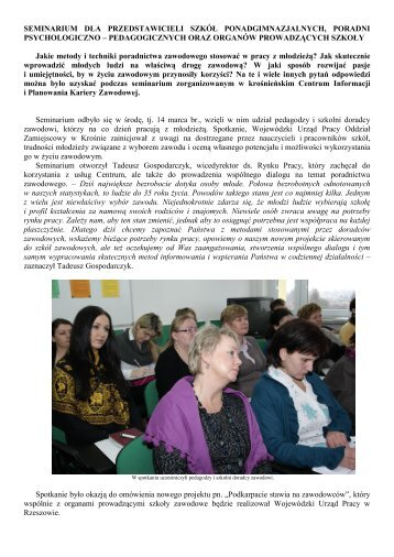 seminarium dla nauczycieli - Wojewódzki Urząd Pracy w Rzeszowie