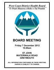 BOARD MEETING - West Coast District Health Board