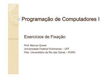 Programação de Computadores I - Lista de Exercícios 1