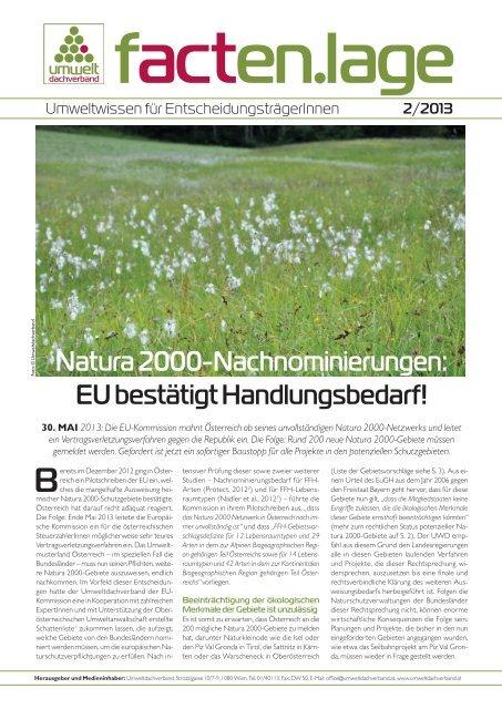 Natura 2000-Nachnominierungen - Umweltdachverband