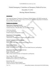 Federal Interagency Committee on Emergency Medical - NHTSA EMS