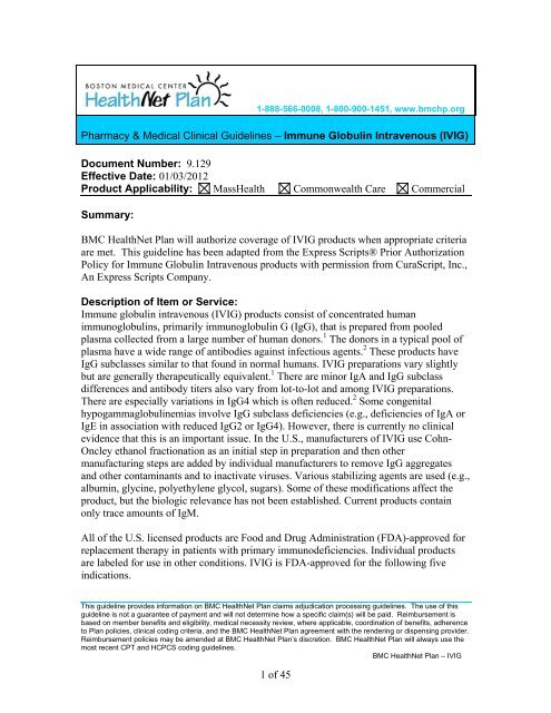 IVIG - BMC HealthNet Plan