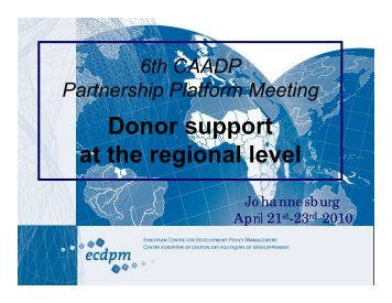 Agenda 7 - Donor support at the regional level - CAADP