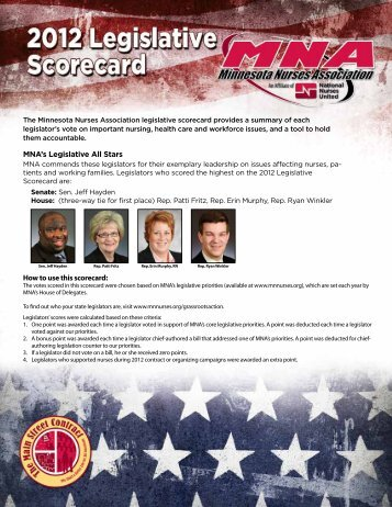 2012 Legislative Scorecard - Minnesota Nurses Association