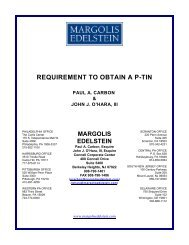 REQUIREMENT TO OBTAIN A P-TIN - Margolis Edelstein