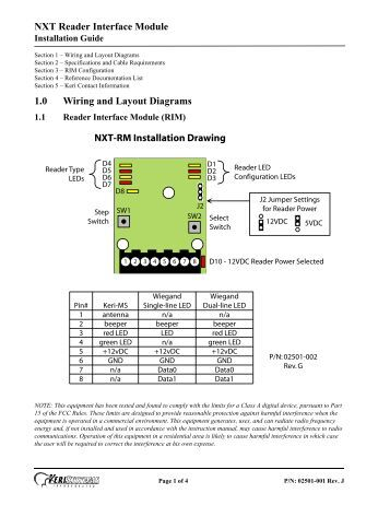 reader interface module xmp rim xxx reader interface module installation guide keri systems