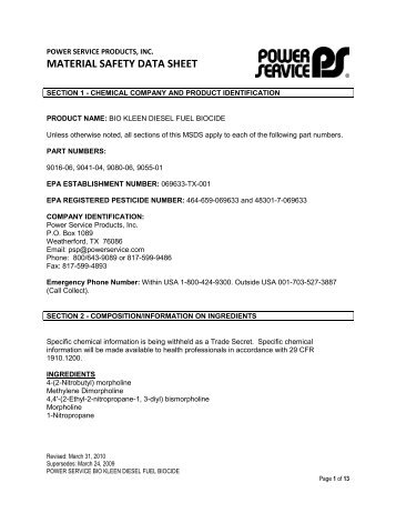 MATERIAL SAFETY DATA SHEET - Power Service Products