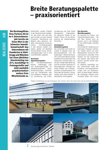 Breite Beratungspalette – praxisorientiert - RESO Partners AG