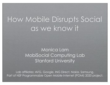 How Mobile Disrupts Social as we know it - Suif - Stanford University