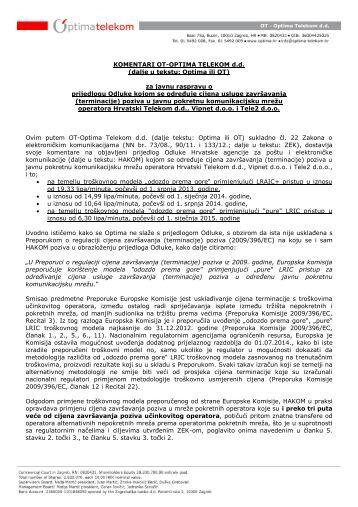 Komentari Optima cijena terminacije poziva 06-05-2013.pdf - Hakom