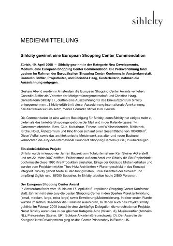 Medienmitteilung vom 17. April 2008 - Sihlcity