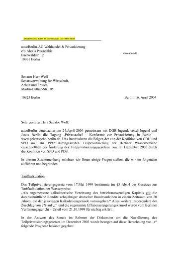 Fragen an Senator Wolf vom 16.4.04 - bis jetzt ... - attac Marburg