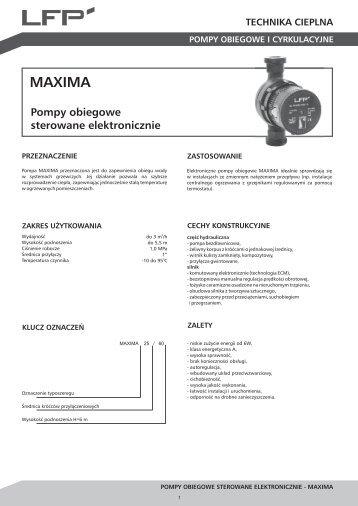 Karta katalogowa MAXIMA - LFP
