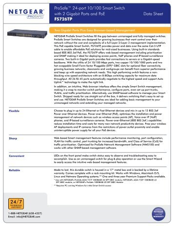 ProSafe™ 24-port 10/100 Smart Switch with 2 Gigabit ... - Netgear