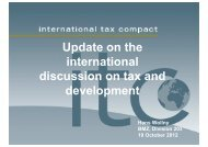 Update on the international discussion on tax and discussion on tax ...