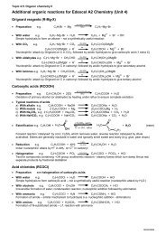 Additional organic reactions for Edexcel A2 ... - LGS Chemistry