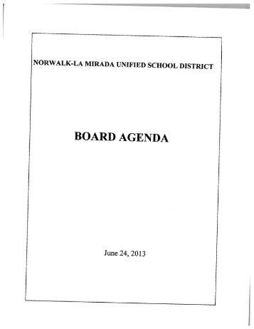BOARD AGENDA - Norwalk-La Mirada Unified School District