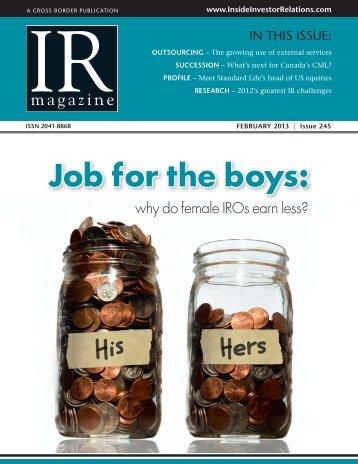 Job for the boys - IR Magazine