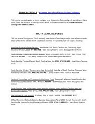 FORMS CATALOGUE – Coleman Karsh Law Library Online ...