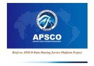APSCO: Data-Sharing platform for Disaster Management ... - APRSAF