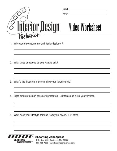 Video Worksheet Learning Zone Express