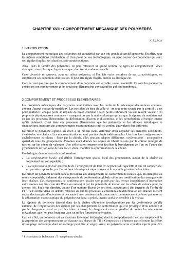 chapitre xvii : comportement mecanique des polymeres - mms2