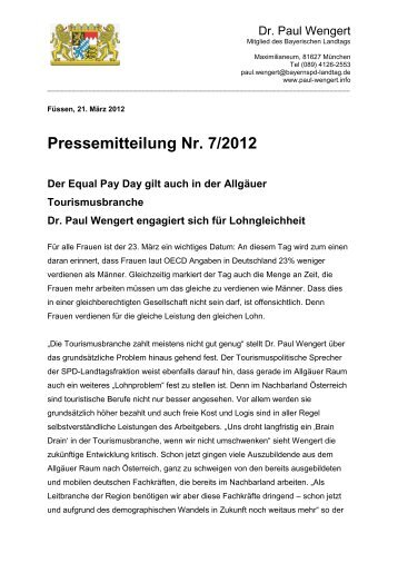 PM 072012Equal Pay gilt auch in der ... - Dr. Paul Wengert