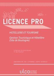 LICENCE PRO Hôtellerie et Tourisme - Université du Littoral Côte d ...