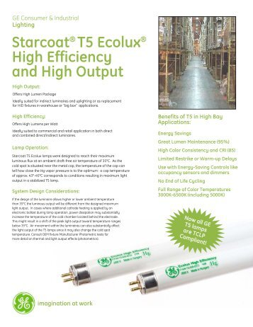 Starcoat® T5 Ecolux® High Efficiency and High Output - GE Lighting