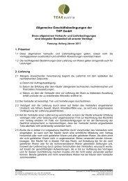 Allgemeine Geschäftsbedingungen der THP GmbH - Teak Austria