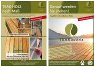 TEAK HOLZ nach Maß Darauf werden Sie stehen! - Teak Austria